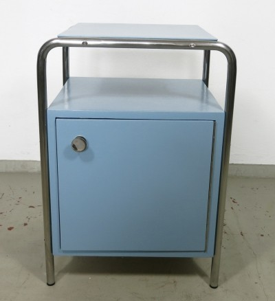 Blue tubular steel bedside table for Robert Slezak, Czech Republic 1930s