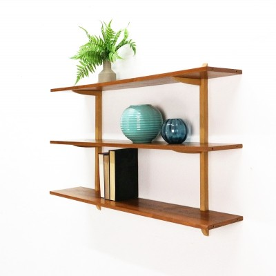 Wall Shelf in Walnut & Beechwood, 1950s