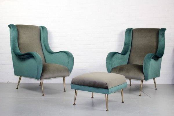 Pair of Modernist important armchairs, France 1950s