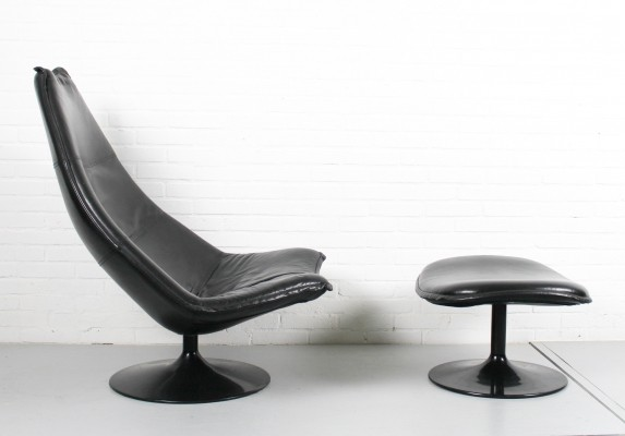 Black leather F585 Lounge chair & ottoman by Geoffrey Harcourt for Artifort, 1967