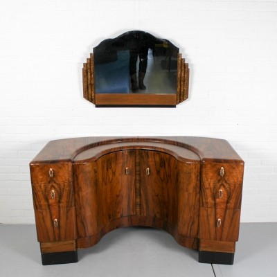English art deco walnut Vanity / Dressing Table, 1940s