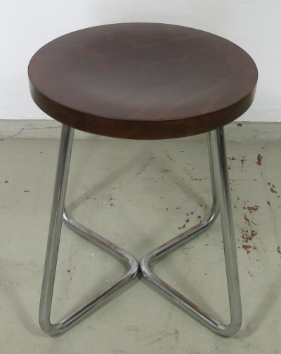 Stool with tubular steel frame & wooden seat, Czech Republic 1930s