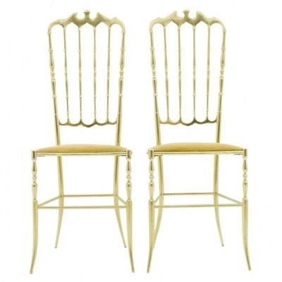 Pair of Brass Chairs by Chiavari Italy, 1960s