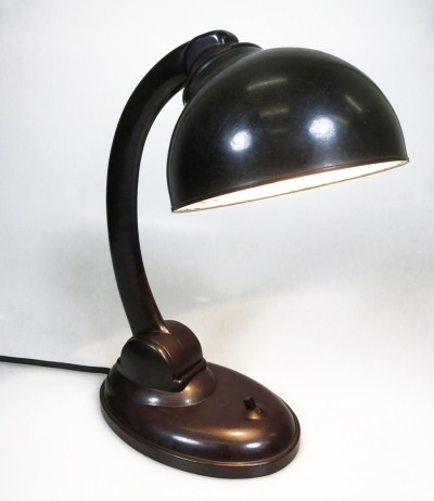 Chocolate brown Bakelite lamp type 11126P by Eric Kirkman Cole for EKCO Ltd