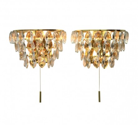 Pair of Palwa Wall Sconces in Gilded Brass & Crystal Glass, Germany 1960s