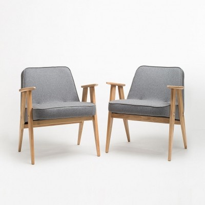 Set of two 366 armchairs in light wood by J. Chierowski
