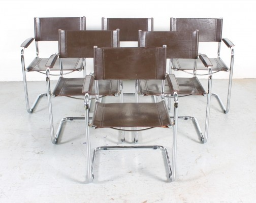 Set of 6 Brown leather cantilever chairs by Mart Stam, Italy 1980s