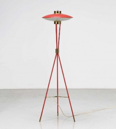 Red tripod floor lamp by Stilnovo, 1950s