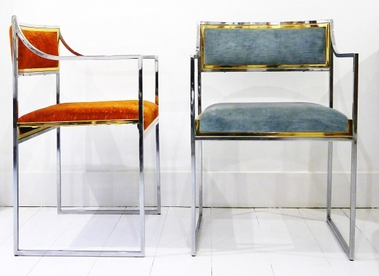Pair of armchairs by Willy Rizzo, Italy