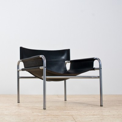 Metal & leather 'SZ14' armchair by Walter Antonis for Spectrum, 1960s
