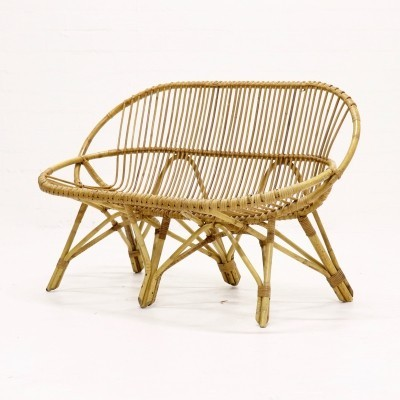 Rattan 2 Seater sofa by Rohe Noordwolde, 1950s