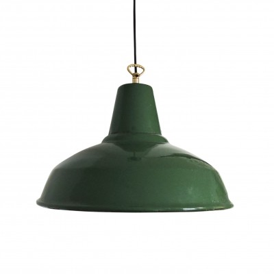 Mid-Century Green Industrial Pendant Light, 1950s