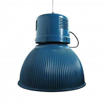 Large Ribbed Vintage Blue Lamp, 1960s