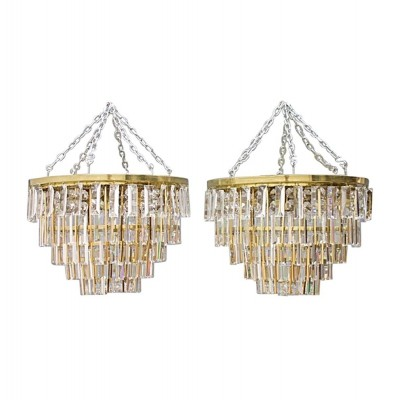 Pair of Crystal Glass Flush Mount Chandeliers by Palwa, Germany 1970s