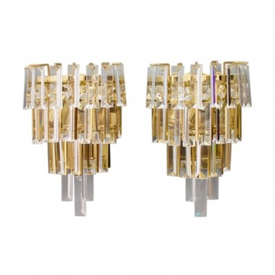 Pair of crystal glass & brass wall sconces by Palwa