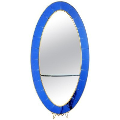 Cristal Art Blue Console Mirror, Italy 1950s