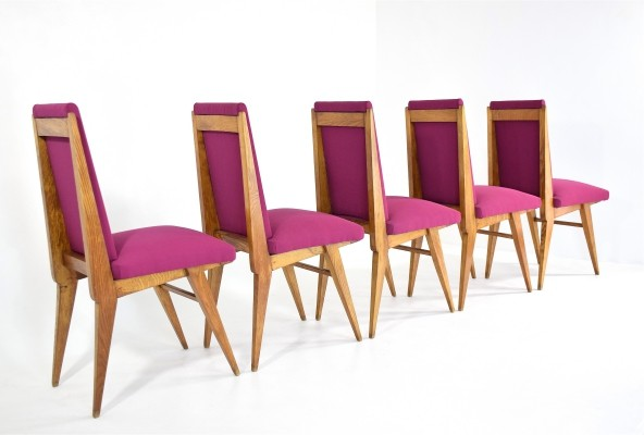 Set of 5 Pink Oak Dining Chairs, France 1940s
