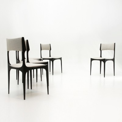 Set of 6 Black & grey dining chairs by Giuseppe Gibelli for Sormani, 1950s
