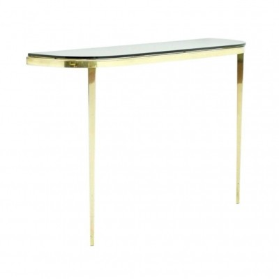 Solid Brass & Glass Wall Console, 1960s