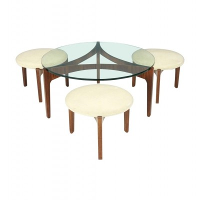 Sven Ellekaer Three Leg Coffee Table & Three Stools by Christian Linneberg
