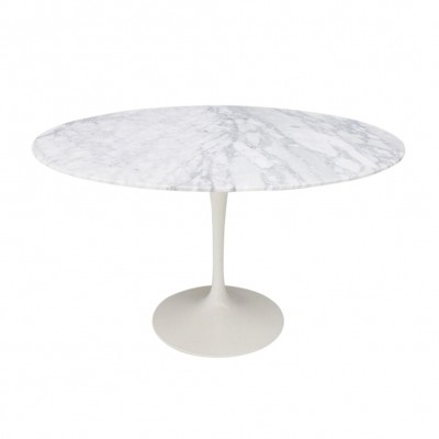 Eero Saarinen Tulip Dining Table with White Marble Top by Knoll International