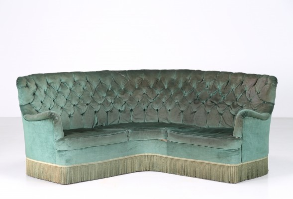 Osvaldo Borsani (labeled) Corner sofa in wood & original fabric, 1940s
