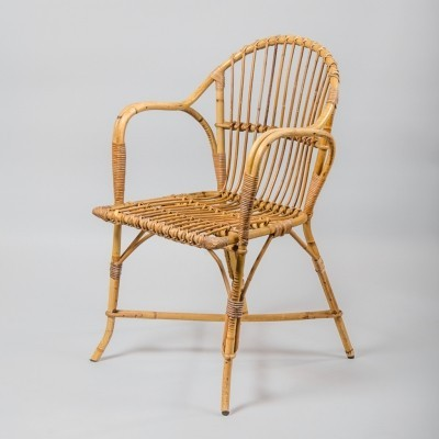 Vintage French Rattan & Wicker Armchair, 1970s