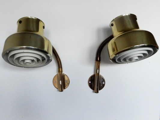 2 brass 'Bumling' wall lamps by Anders Pehrsson for Ateljé Lyktan, Sweden 1960's
