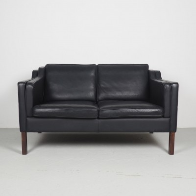 Black leather vintage 2-seater sofa by Stouby