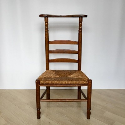 Dutch Oak Prayer Chair with Wicker Seat