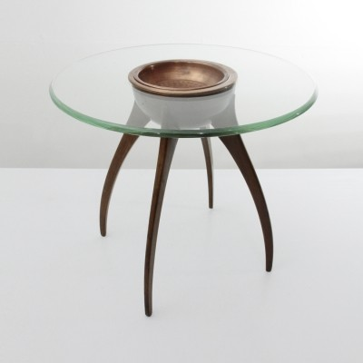 Italian mid-century coffee table with copper cup, 1940s