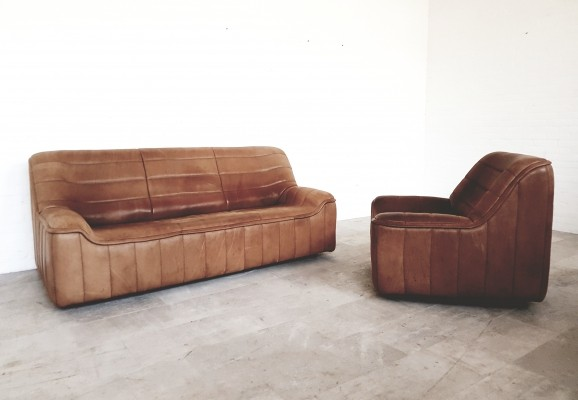De Sede DS84 seating set in light brown saddle leather, 1970s