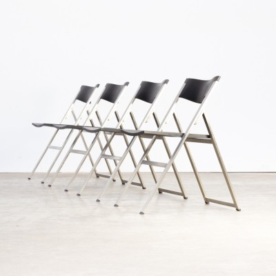 Set of 4 Justus Kolberg 'P08' folding chairs for Tecno, 1990s