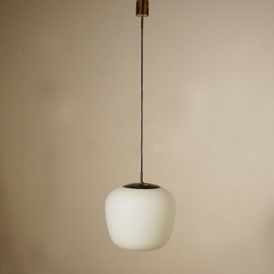 Stilnovo Pendant Lamp with Opaline Glass, 1960s