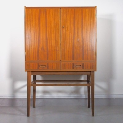 Tall Cabinet/Dry Bar Veneered with Walnut & a Mirrored Interior