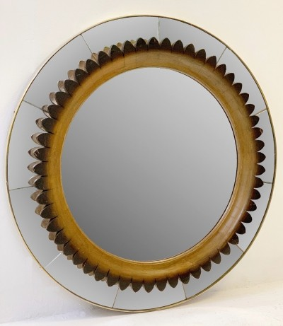 Circular Walnut Wall Mirror by Fratelli Marelli Italy, Circa 1950s