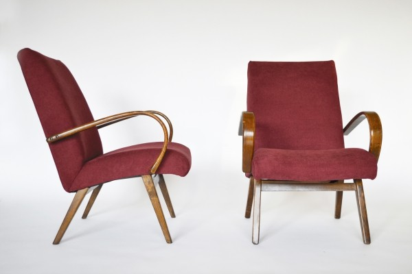 Royal Red Czech Armchairs by Jaroslav Smídek for TON, 1960s