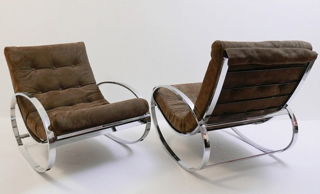 Renato Zevi For Selig Ellipse Chrome Rocking Chairs, 1960s