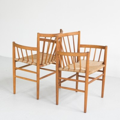Pair of J81chairs in oak & papercord by Jørgen Baekmark for FDB, 1960s