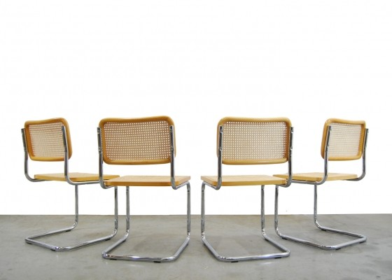 Set of 4 'Cesca' dining chairs by Marcel Breuer, Italy 1996
