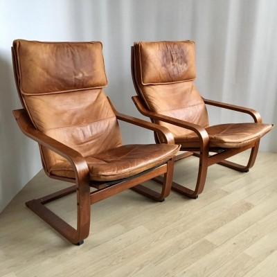 Pair of Vintage Cognaс Leather Poäng Chairs by Noboru Nakamura for IKEA, 1999