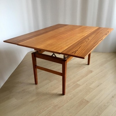 Mid-Century Swedish Adjustable Teak Coffee or Dining Table by Emmaboda, 1957
