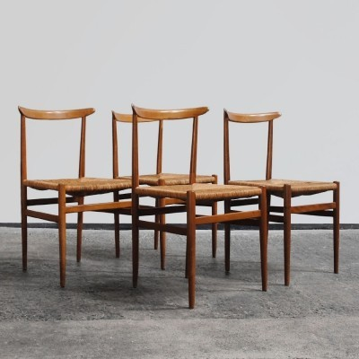 4 elegant dinner chairs with beech frame & rattan seating, 1960s