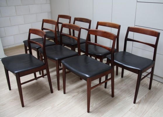 Set of 8 dining chairs in rosewood & black leather by Vejle Stolefabrik, Denmark 1960's