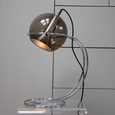 Smoked glass Globe Table/office lamp by Frank Ligtelijn for Raak, 1960's