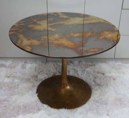 Dining table with golden tulip base & mirrored glass top, 1960s