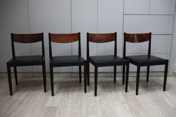 Set of 4 P. Volther dining chairs in rosewood & leather, Denmark 1960's