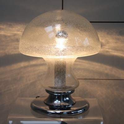 XL mushroom table lamp in glass by Doria Leuchten, 1970's