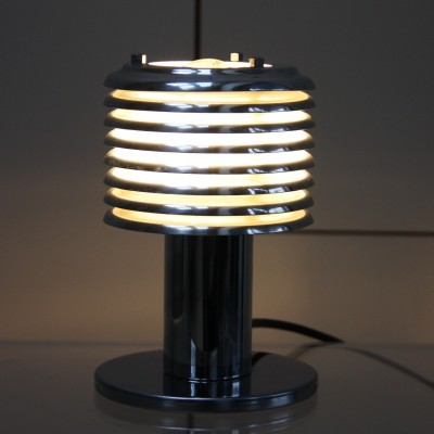 Table lamp in chrome plated steel with lamellae, 1960's