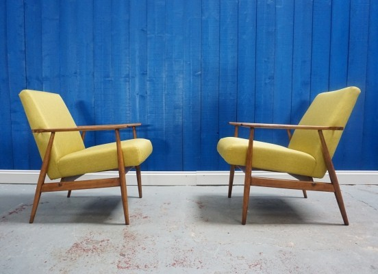 Pair of Mid Century Modern H. Lis Lounge Chairs in Green Apple, 1970's